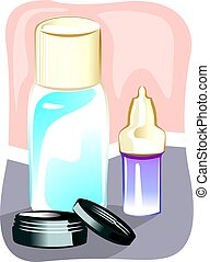 cosmetics - Illustration of cosmetics with colour background...