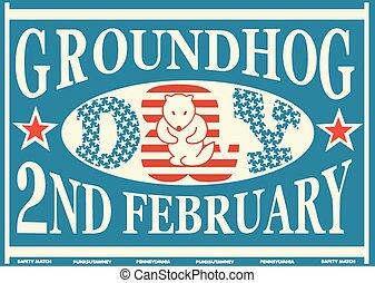 Groundhog Day Vintage Match Label - Old American Groundhog...
