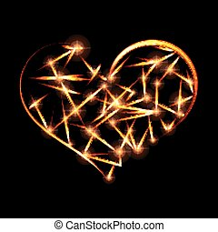 Abstract design-fiery heart shape on black background.