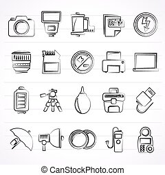 Camera equipment icons - Camera equipment and photography...