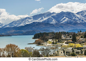 beautiful top view land scape of lake wanaka town in cloudy...