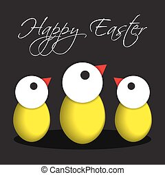 greeting card, Easter chicken eggs - Easter chicken eggs...