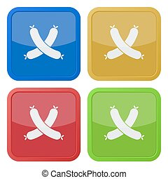 set of four square icons with sausage