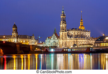 Dresden The building of the Hofkirche at night - Holy...