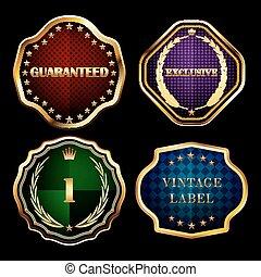 Vintage gold frames labels collection design elements.