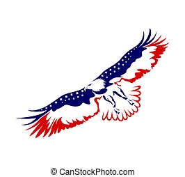 Eagle - Illustration of an eagle flying on white background