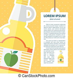 Vector flat apple cider vinegar bottle template. Eps10