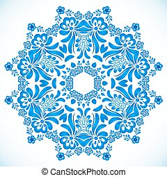 Blue floral circle pattern in gzhel style