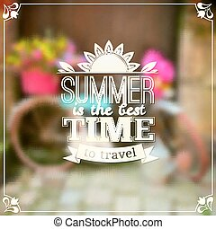 Summer time vector typography design on blurred background...