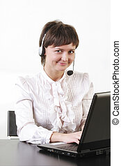 Smiling businesswoman with headset