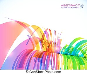 Rainbow colors abstract shining perspective waterfall -...