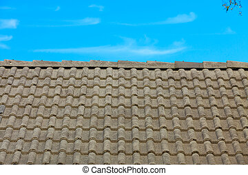 Brown tiles roof texture architecture background - Brown...