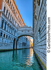 Venice - Bridge of Sighs, Ponte dei Sospiri, Italy, HDR -...