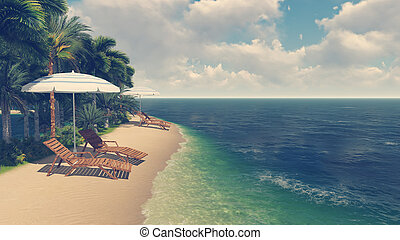 Deck chairs and parasols on tropical beach - Sandy tropical...