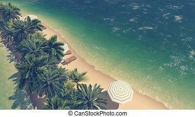 Tropical beach and clear ocean Aerial view - Sandy tropical...