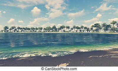 Empty tropical beach and clear ocean - Tropical scenery with...