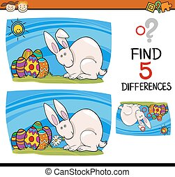 easter task of differences - Cartoon Illustration of Finding...