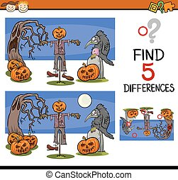 halloween differences task - Cartoon Illustration of Finding...