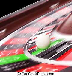 Casino Roulette closeup in motion 3d illustration High...