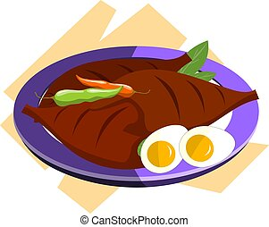 meat chillies  and egg in a plate