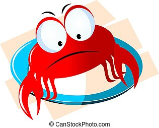 crab in a blue plate - Illustration of a cartoon crab in a...