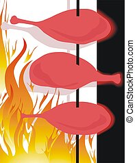 pieces of chicken frying in flames - Illustration of two...