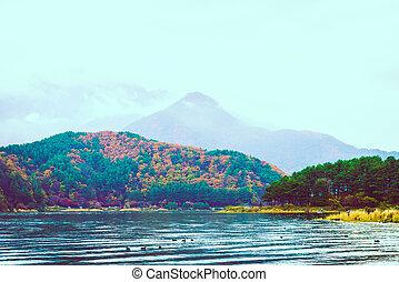 Lake Kawaguchiko - Beautiful Lake Kawaguchiko - vintage...