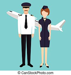 pilot stewardess flight attendance cabin crew in uniform...