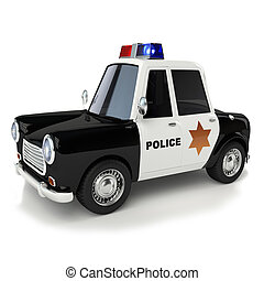 police car - 3d illustration cartoon of police car series