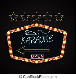 Shining retro light banner karaoke - Illustration of Shining...