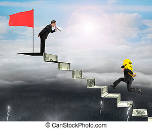 businessman carrying Euro on money stairs with another...
