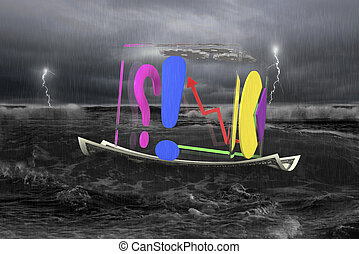 transparent cube of business graphs on money boat with storm...