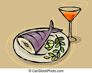 fish and drink in a plate