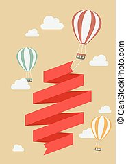 Hot air balloon with banner