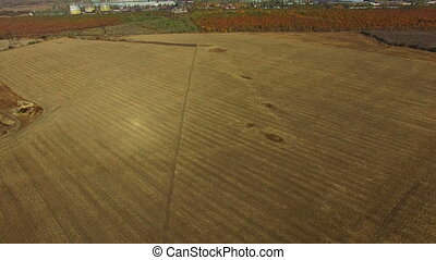 Flying over a field near the factory. Autumn. aerial survey