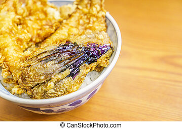 Tempura bowl on table