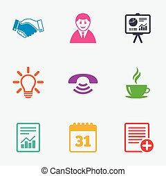 Office, documents and business icons Businessman, handshake...