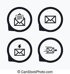 Mail envelope icons Message document symbols - Mail envelope...