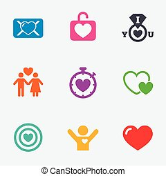 Love, valentine day icons Target with heart - Love,...