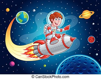 Rocket Boy Blasting from Earth - Cartoon illustration of a...