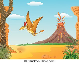 Cartoon funny pterodactyl flying - Vector illustration of...