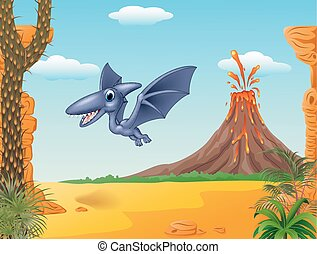 Cute pterodactyl flying - Vector illustration of Cute...