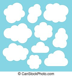 Simple white clouds set Vector illustration isolated on blue...