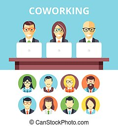 Coworking flat illustration, icons