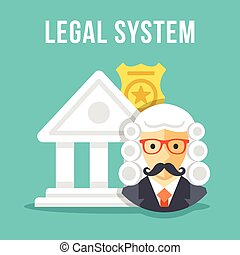 Legal system Creative flat design - Legal system Courthouse,...