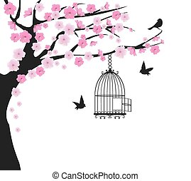 bird cage tree dove - vintage tree with bird cage