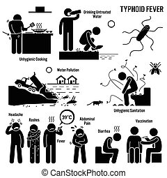 Typhoid Fever Unhygienic Lifestyle - Illustrations showing...