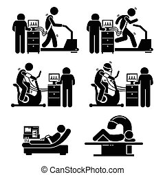 Exercise Stress Test Heart Diseases - Illustrations showing...