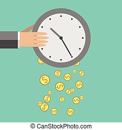 Time is money illustration - Money dropping from clock Flat...