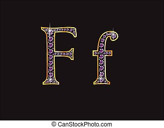 Ff Amethyst Jeweled Font with Gold - Ff in stunning amethyst...